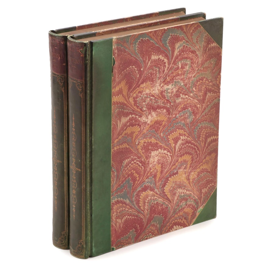 """Illustrated """"Pompeiana"""" Two-Volume Set by Sir William Gell, 1832"""