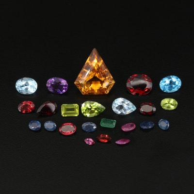 Loose 37.64 CTW Gemstones Including Citrine, Sapphire and Ruby