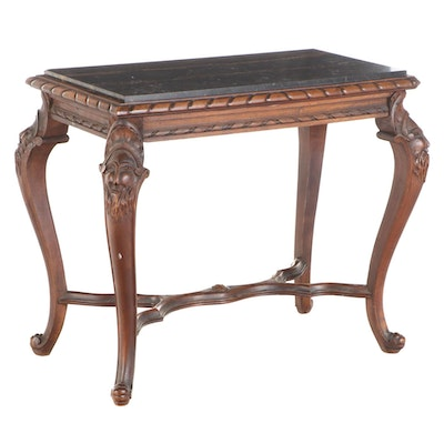 Italian Carved Walnut and Marble Top Side Table, 20th Century