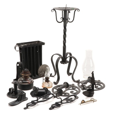 Wrought and Cast Iron Candle Holders, Glass Oil Lamps, and More