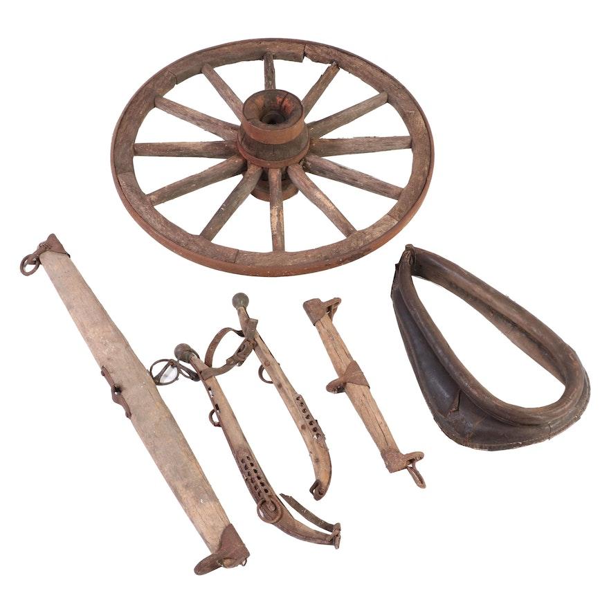 Wooden Wagon Wheel, Oxen Yoke, Horse Hames and Collar