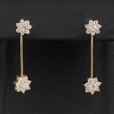 Jose Hess 18K 1.02 CTW Diamond Floral Earrings