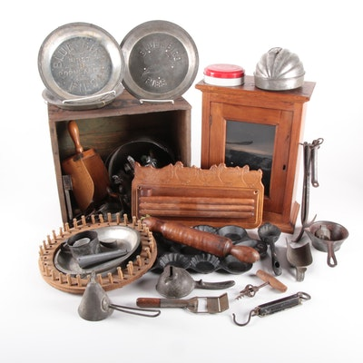Primitive Kitchenware and Round Wooden Knitting Loom, Mid to Late 20th Century