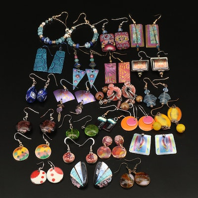 Earrings Including Lincoln Memorial Cent Coins and Lampwork Glass