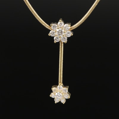 Jose Hess 18K Diamond Floral Drop Necklace