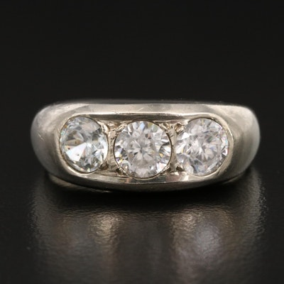 14K White Zircon Band