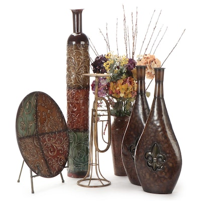 Glazed Metal Tall Vase, Faux Plants, Vases, Candle Holder and Decorative Plate