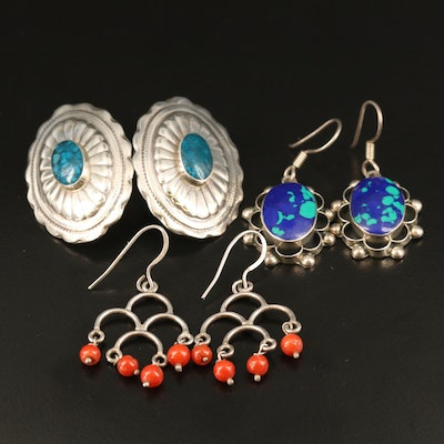 Mexican and Western Sterling Coral, Faux Azurmalachite and Inlay Earrings