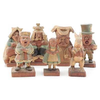 Italian Carved Wood Polychrome Alice's Adventures in Wonderland Figurines