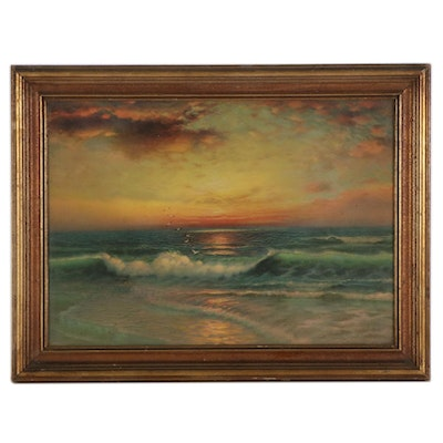 Offset Lithograph of Ocean Sunset