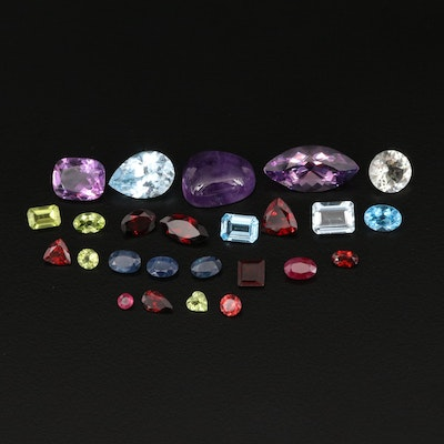 Loose 35.15 CTW Gemstones Including Ruby, Amethyst and Sapphire