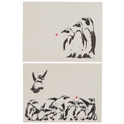 Rabindra Danks Lithographs of Penguins, Late 20th Century