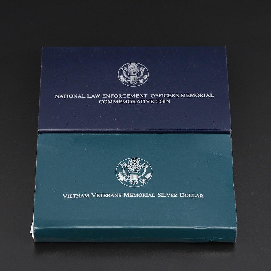 Vietnam Veterans Memorial and National Law Enforcement Memorial Silver Dollars