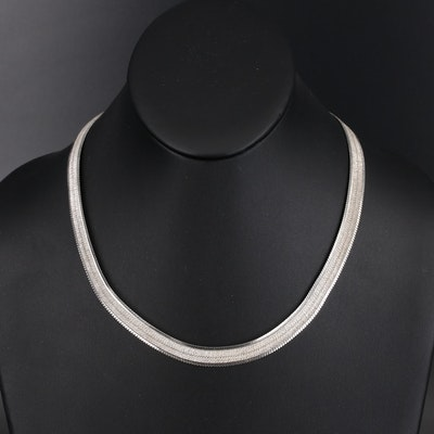 Italian Milor Sterling Herringbone Necklace