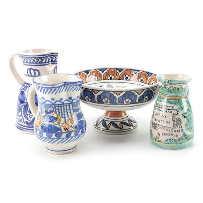 Greek Hand-Painted Stoneware Pitchers with Compote