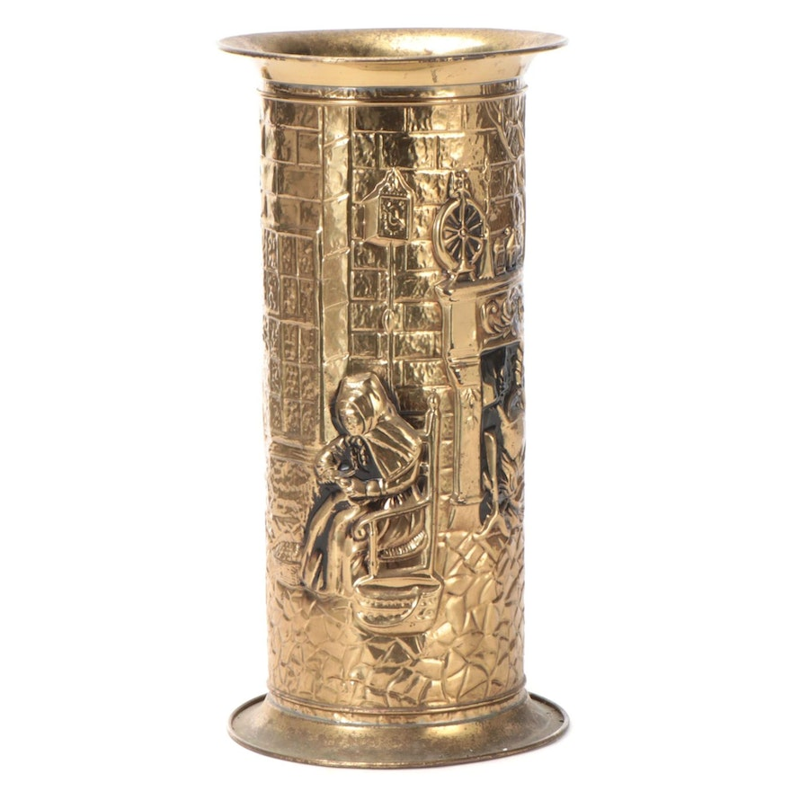 Repoussé Gilt Brass Umbrella Stand with Cottage Scene