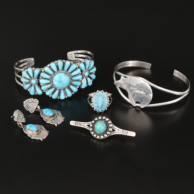 Sterling Jewelry Featuring Russell Sam Navajo Diné and Lydia Bowekaty Zuni