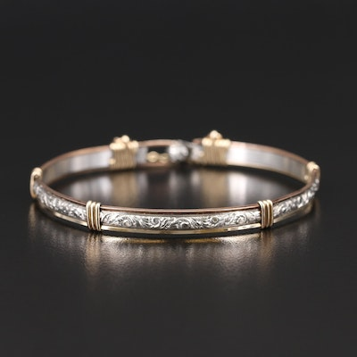 Sterling Engraved Bracelet with Wrapped Wire