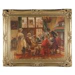 Hermann Prediger Parlor Scene Oil Painting