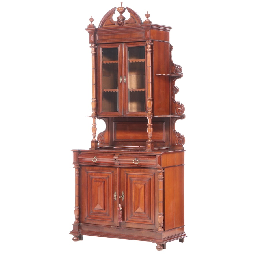 Belgian Walnut Buffet à Deux Corps, Mid to Late 19th Century