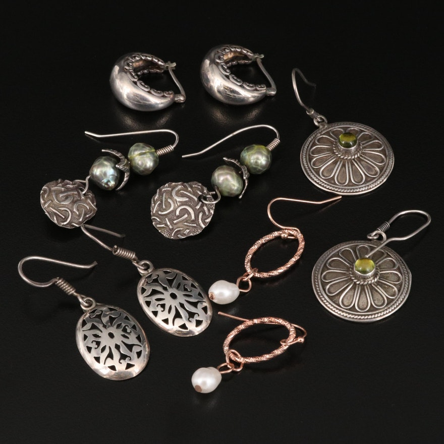 Disk, Hoop and Pearl Earrings Featuring Sterling Silver