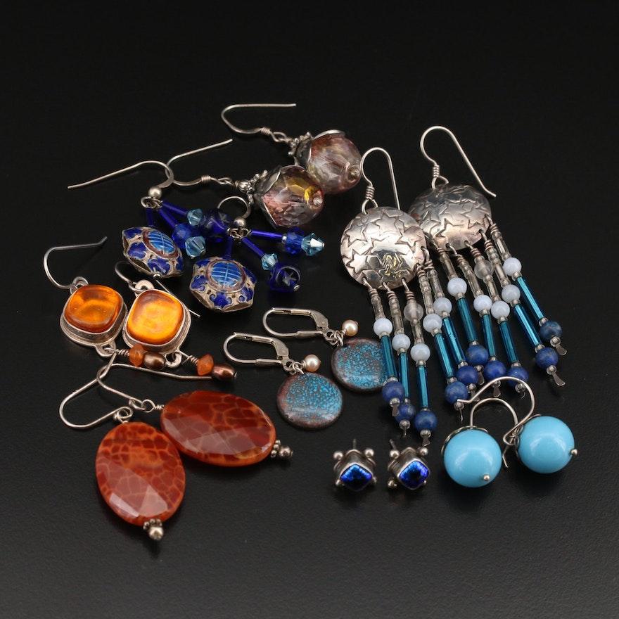 Sterling Lapis Lazuli, Agate and Gemstone Earrings