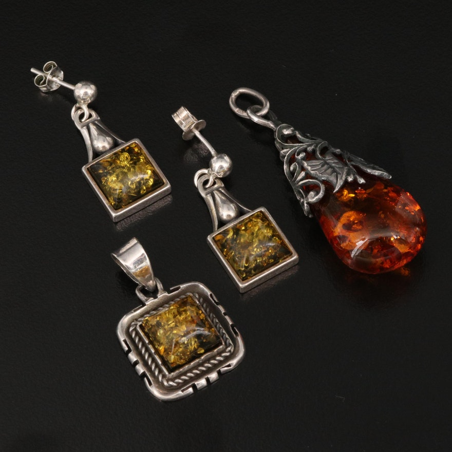 Sterling Amber Foliate Pendants and Square Earrings
