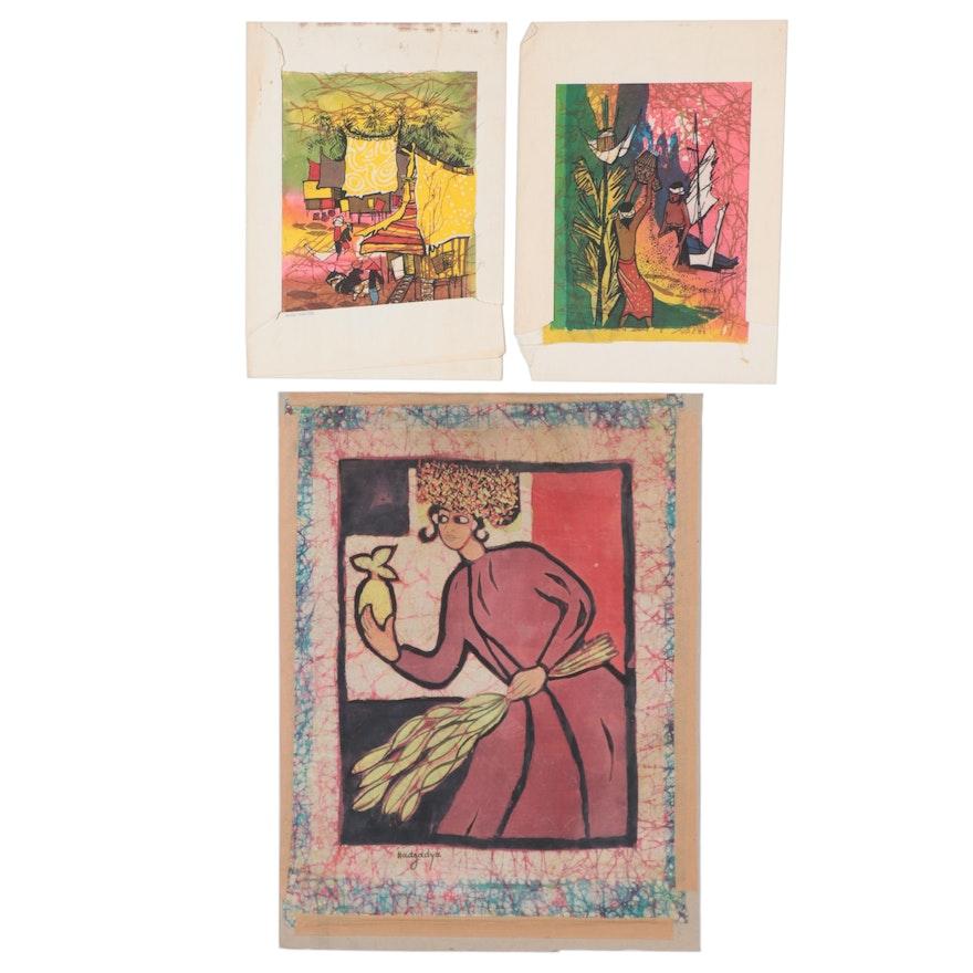Batik Textile Paintings including Miriam Hadgadya