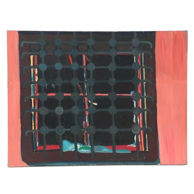 Jerald Mironov Oil Painting of Window Grate