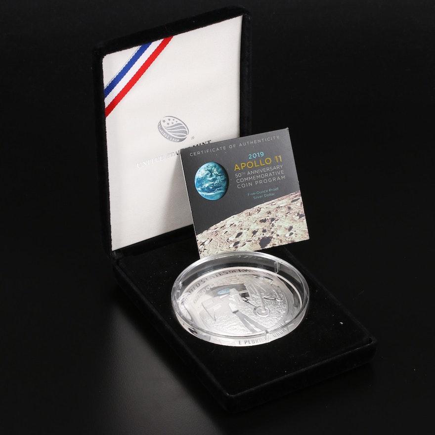 Apollo 11 Five Troy Ounce .999 Fine Silver Proof Commemorative Coin, 2019