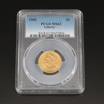 PCGS Graded MS63 Lower Mintage 1908 Liberty Head $5 Gold Half Eagle