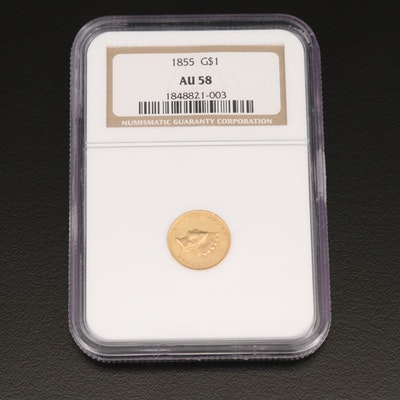 NGC Graded AU58 1855 Type II Indian Princess Head $1 Gold Coin