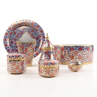 Indo Persian Style Porcelain Enamel Floral Tableware
