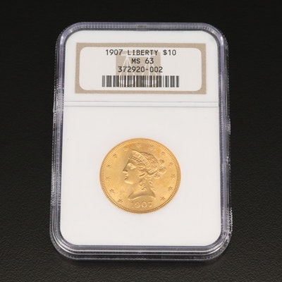 NGC Graded MS63 1907 Liberty Head $10 Gold Eagle