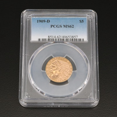 PCGS Graded MS62 1909-D Indian Head $5 Gold Half Eagle