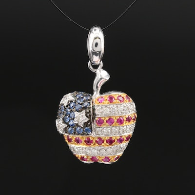 18K Diamond, Ruby and Sapphire Apple Pendant with American Flag Pattern