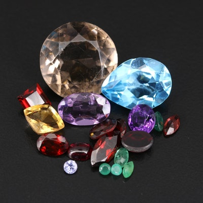 Loose 40.27 CTW Gemstones Including Garnet, Emerald and Smoky Quartz