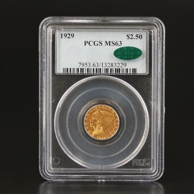 PCGS Graded MS63 w/CAC 1929 Indian Head $2.50 Gold Quarter Eagle