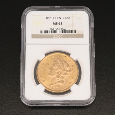 "NGC Graded MS62 1873 ""Open 3"" Liberty Head $20 Double Eagle Gold Coin"