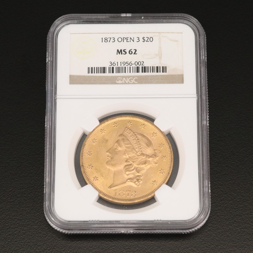 """NGC Graded MS62 1873 """"Open 3"""" Liberty Head $20 Double Eagle Gold Coin"""