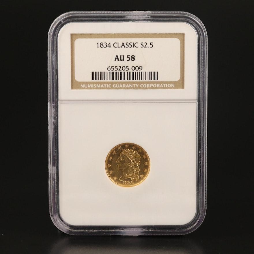NGC Graded AU58 1834 Classic Head $2.50 Quarter Eagle Gold Coin