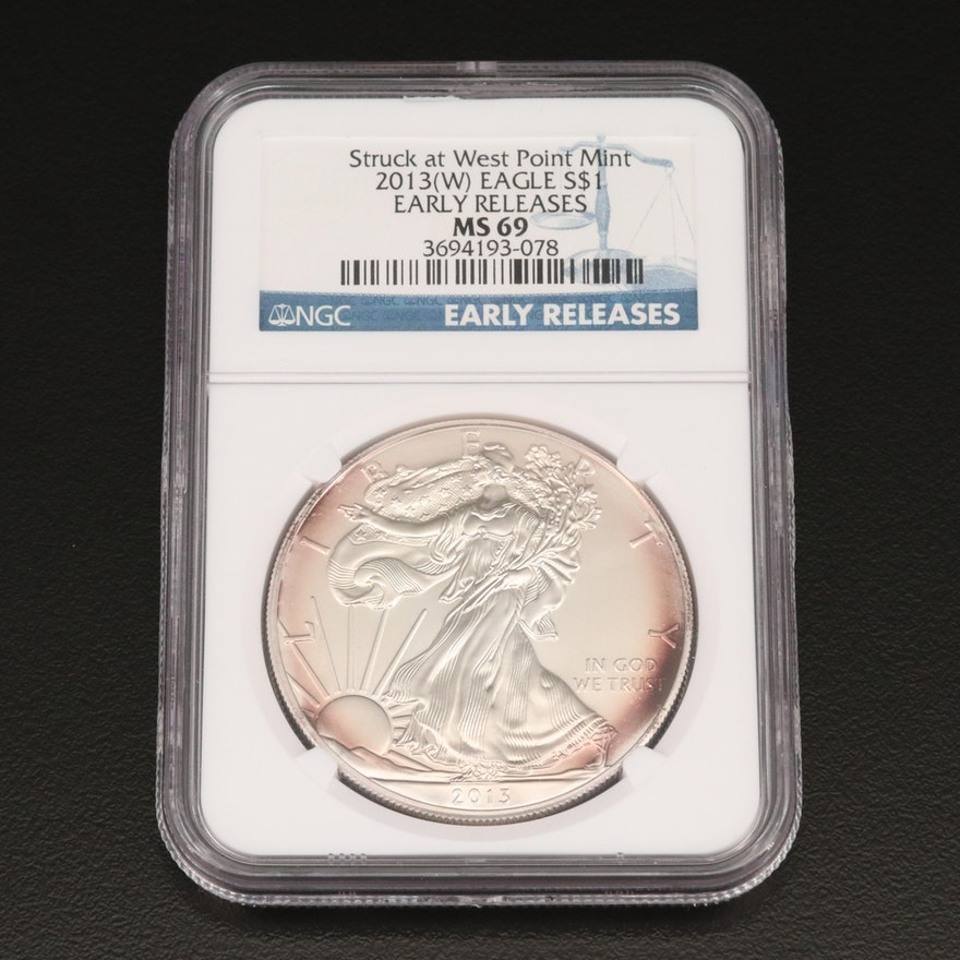NGC Graded MS69 2013(W) Early Release .999 Fine American Silver Eagle