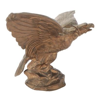 Gilt Cast Galvanized Metal Eagle Stauette