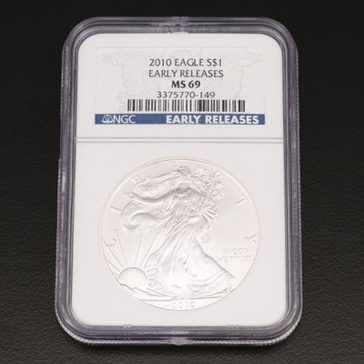 "NGC Graded MS69 2010 ""Early Releases"" $1 American Silver Eagle Bullion Coin"