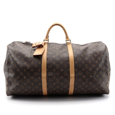 Louis Vuitton Keepall 60 Duffel Bag in Monogram Canvas and Vachetta Leather