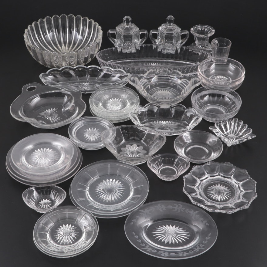 Heisey Pressed Glass Salt Cellars and Serving Dishes with Other Tableware
