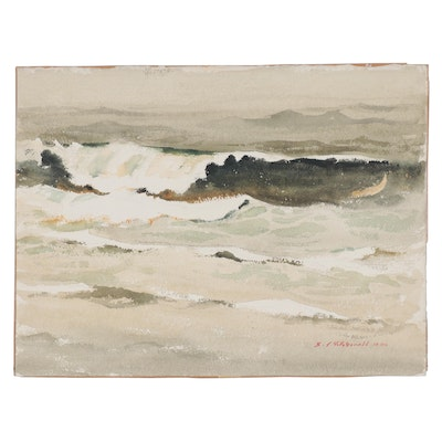 "Edmond J. Fitzgerald Seascape Watercolor Painting ""The Wave, Oregon"""