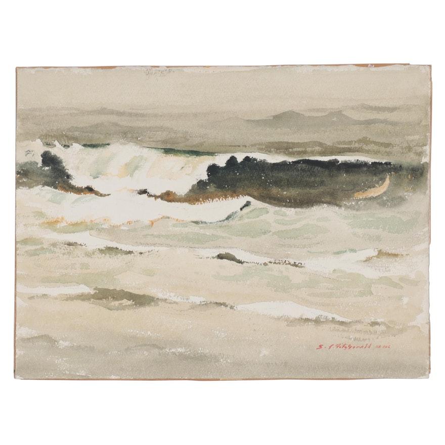 """Edmond J. Fitzgerald Seascape Watercolor Painting """"The Wave, Oregon"""""""