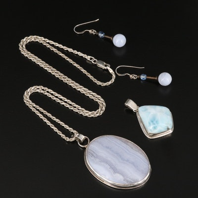 Sterling Blue Lace Agate and Larimar Jewelry Selection
