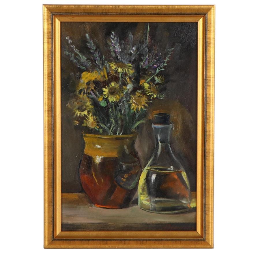 Natalia Demenko Still Life Oil Painting of Flowers and Bottle, 21st Century